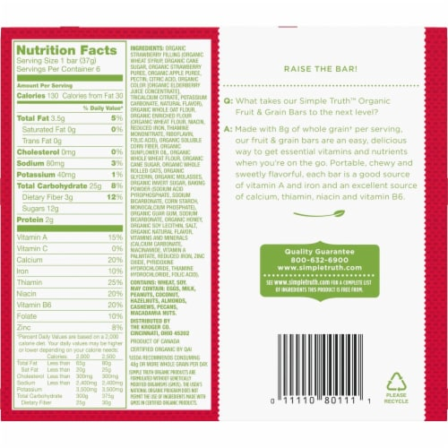 Simple Truth Organic™ Strawberry Fruit and Grain Bars 6 Count Perspective: back