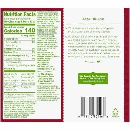Simple Truth Organic™ Apple Cinnamon Fruit and Grain Bars 6 Count Perspective: back