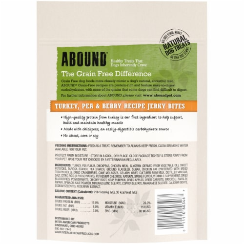 ABOUND® Grain Free Turkey Pea & Cranberry Recipe Jerky Bites Dog Treats Perspective: back