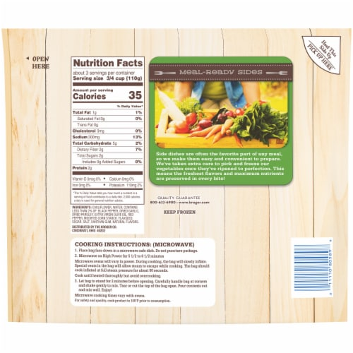 Kroger® Meal-Ready Sides Garlic & Herb Seasoned Cauliflower Perspective: back