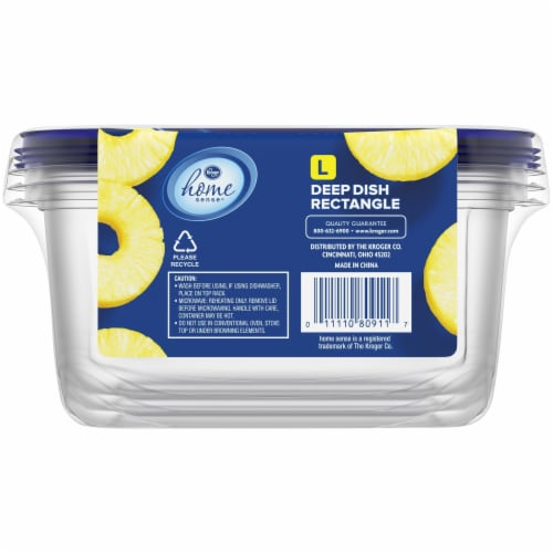 Kroger® Large Deep Dish Disposable Food Containers & Lids - 3 Pack - Clear/Blue Perspective: back