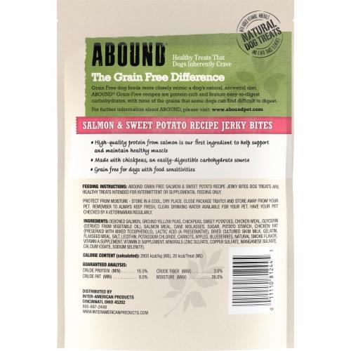 ABOUND® Grain Free Salmon & Sweet Potato Recipe Jerky Bites Dog Treats Perspective: back
