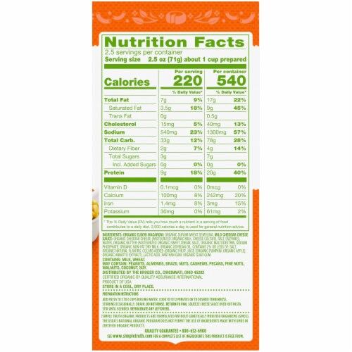 Simple Truth Organic® Deluxe Cheddar Macaroni & Cheese Perspective: back