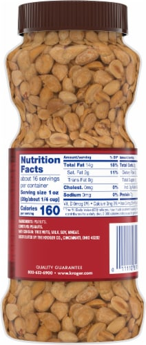 Kroger® Dry Roasted Unsalted Peanuts Perspective: back