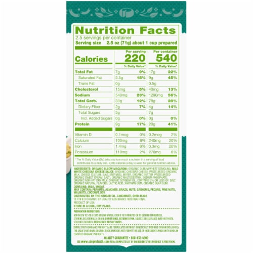 Simple Truth Organic® Thick & Creamy Deluxe White Cheddar Macaroni & Cheese Perspective: back