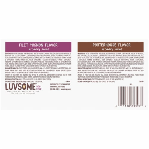 Luvsome® Filet Mignon Flavor and Porterhouse Flavor in Savory Juices Wet Dog Food Variety Pack Perspective: back