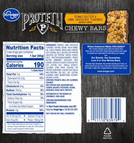 Kroger® Peanut Butter & Dark Chocolate Flavored Protein Chewy Bars Perspective: back