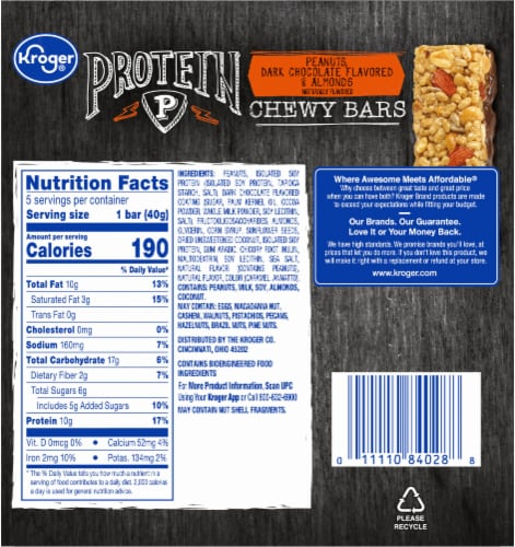 Kroger® Peanuts Dark Chocolate Flavored & Almonds Protein Chewy Bars Perspective: back