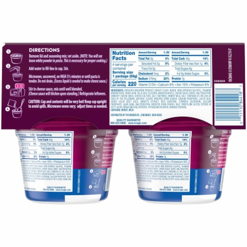 Kroger®  Original Macaroni & Cheese Cups (4) 2.05 oz Package Perspective: back