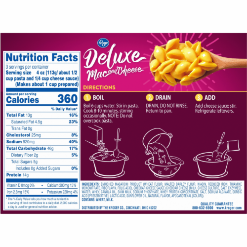 Kroger® Deluxe Shells & Cheddar Mac & Cheese Perspective: back