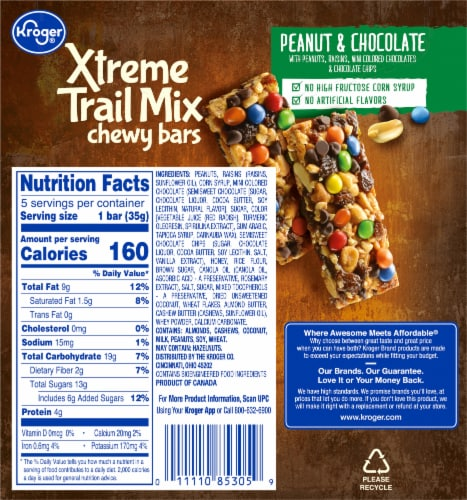 Kroger® Xtreme Trail Mix Peanut & Chocolate Chewy Bars Perspective: back