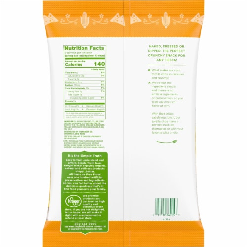 Simple Truth Organic Yellow Corn Tortilla Chips Perspective: back