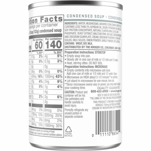 Kroger® 49% Less Sodium Cream of Mushroom Condensed Soup Can Perspective: back