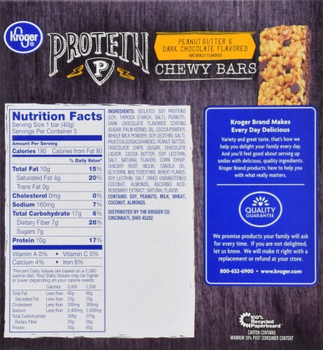 Kroger® Protein Chewy Peanut Butter & Dark Chocolate Bars Perspective: back