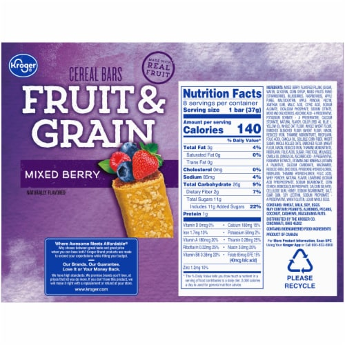 Kroger® Fruit & Grain Mixed Berry Cereal Bars Perspective: back