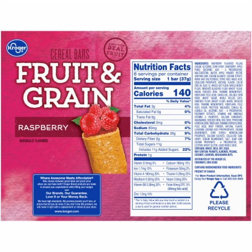 Kroger® Fruit & Grain Raspberry Cereal Bars Perspective: back