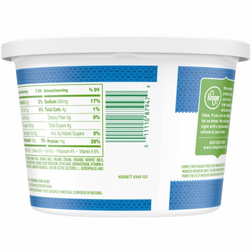 Simple Truth Organic™ 2% Milkfat Lowfat Small Curd Cottage Cheese Perspective: back