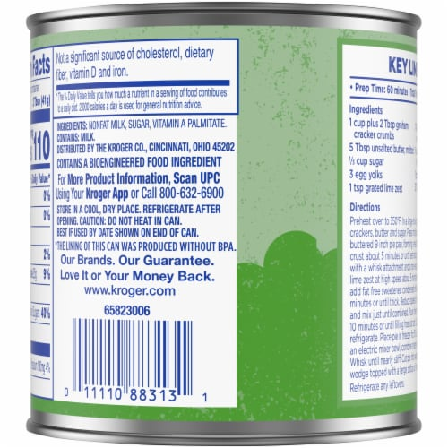 Kroger® Fat Free Sweetened Condensed Milk Perspective: back