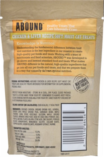 ABOUND™ Chicken & Liver Soft Moist Cat Treats Perspective: back