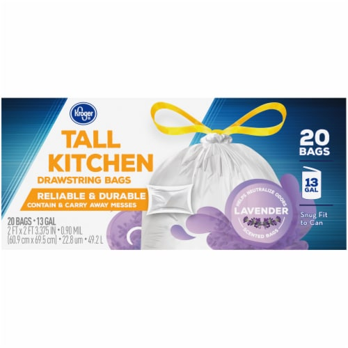 Kroger® Tall Kitchen Lavender Scented 13 Gallon Drawstring Bags Perspective: back