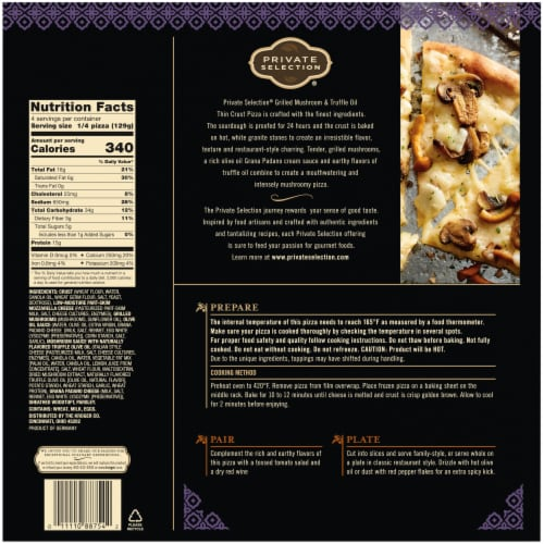 Private Selection® Grilled Mushroom & Truffle Oil Thin Crust Frozen Pizza Perspective: back