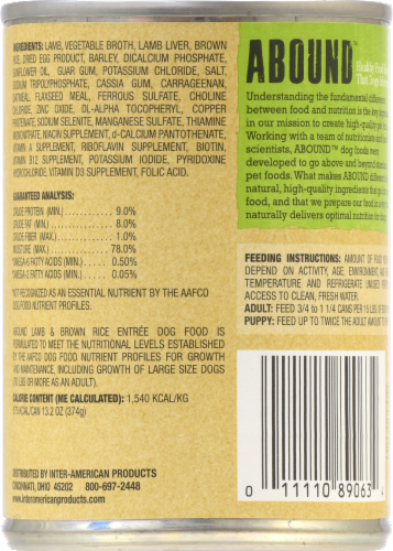 ABOUND™ Lamb & Brown Rice Entree Dog Food Perspective: back