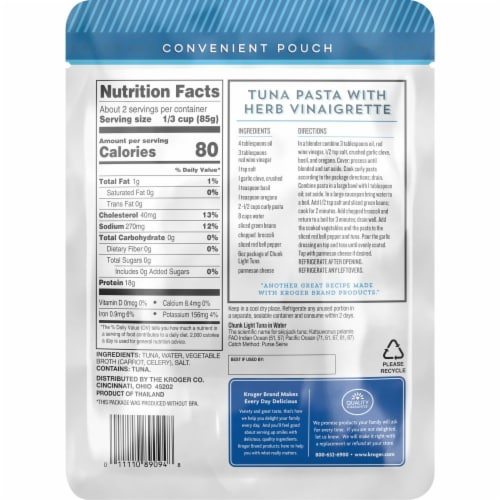 Kroger® Wild Caught Chunk Light Tuna in Water Perspective: back