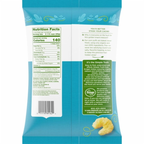 Simple Truth Organic™ Sea Salt & Butter Flavored Baked Puffs Perspective: back