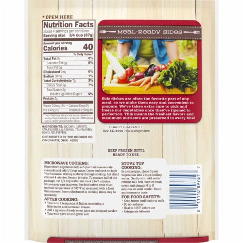 Kroger® Italian Style Frozen Vegetable Meal-Ready Sides Perspective: back