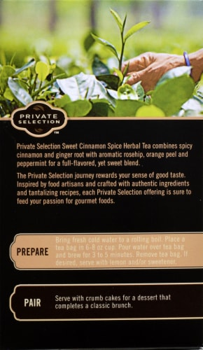 Private Selection™ Caffeine Free Sweet Cinnamon Spice Herbal Tea Bags Perspective: back