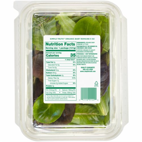 Simple Truth Organic™ Baby Romaine Lettuce Perspective: back