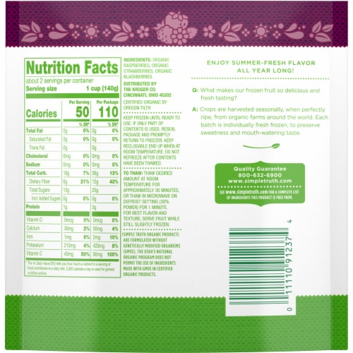 Simple Truth Organic™ Berry Medley Frozen Fruit Perspective: back