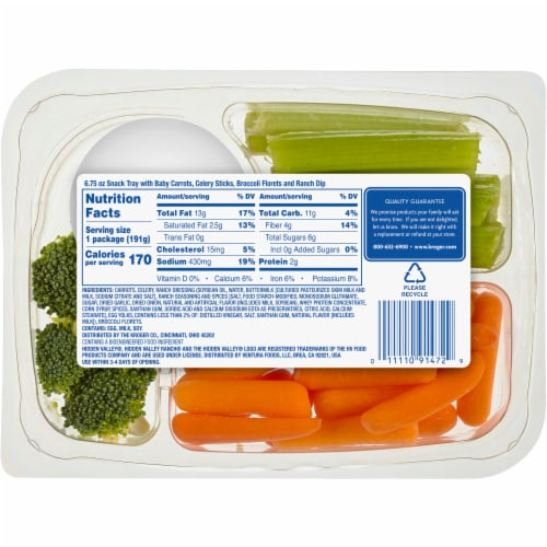 Kroger® Carrots Celery Broccoli & Ranch Dip Snack Tray Perspective: back