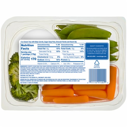 Kroger® Vegetable Snack Tray with Ranch Dip Perspective: back