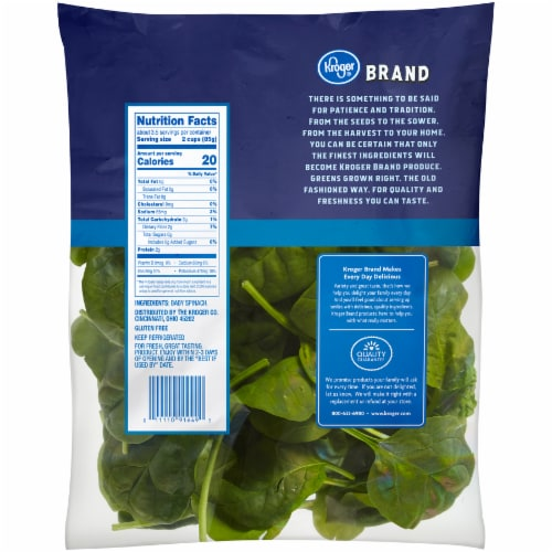 Kroger® Tender Spinach Perspective: back