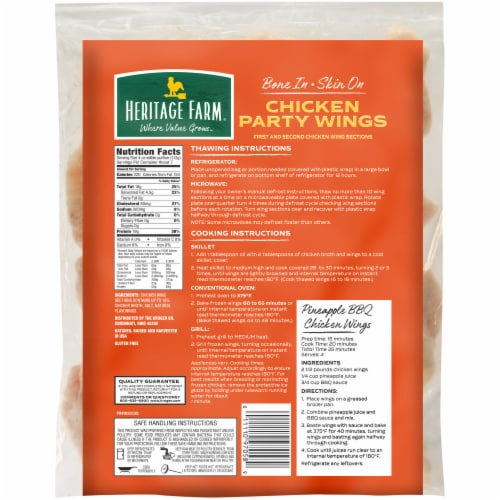 Heritage Farm® Bone In Chicken Party Wings Perspective: back