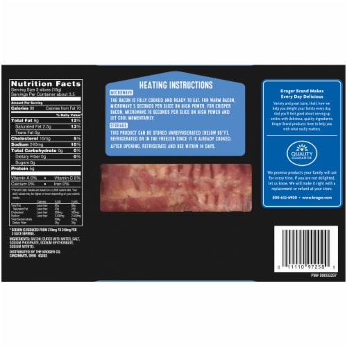 Kroger® Fully Cooked Lower Sodium Hardwood Smoked Traditional Bacon Perspective: back