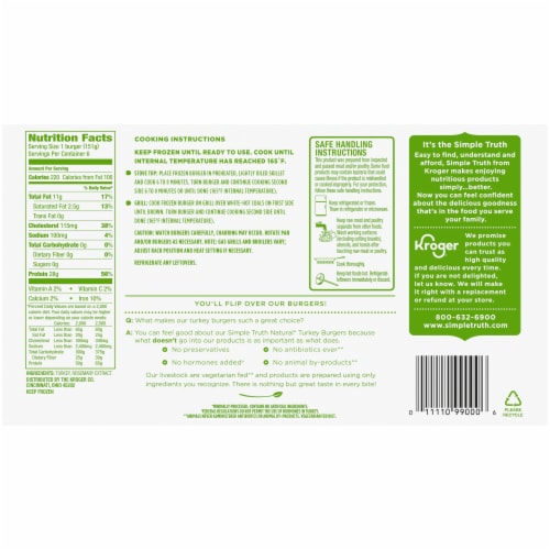 Simple Truth® Natural Turkey Burgers Perspective: back