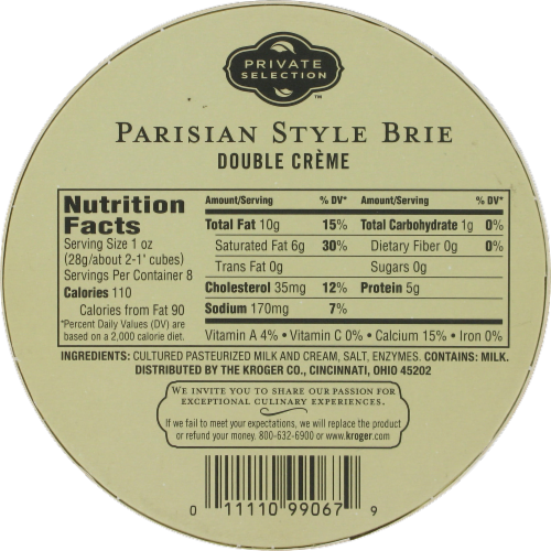 Private Selection™ Parisian Style Double Creme Brie Perspective: back