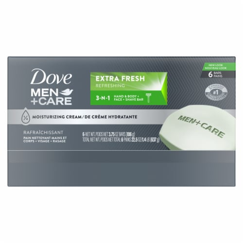 Dove Men+Care Extra Fresh 3-in-1 Cleanser for Body Face & Shaving Bar Perspective: back