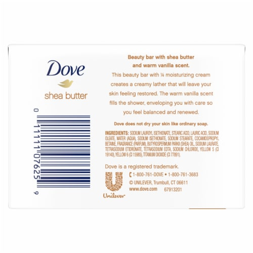 Dove Purely Pampering Warm Vanilla Shea Butter Beauty Bars Perspective: back