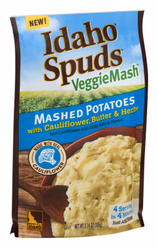 Idaho Spuds VeggieMash Mashed Potatoes with Cauliflower Butter & Herbs Perspective: back