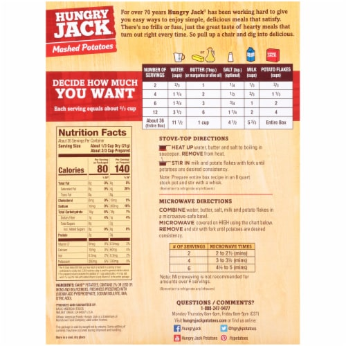 Hungry Jack Mashed Potatoes Perspective: back