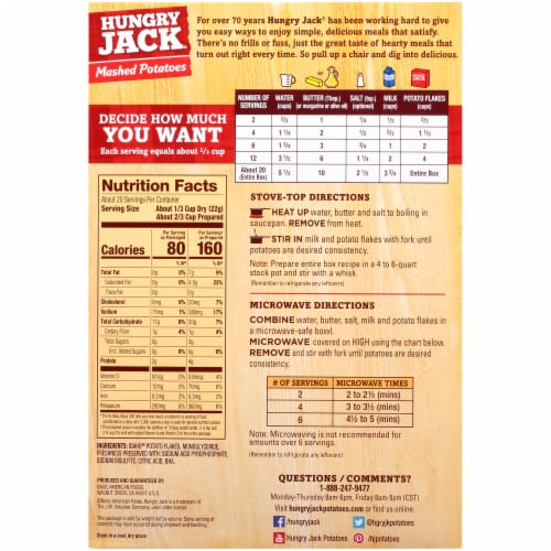 Hungry Jack Instant Mashed Potatoes Perspective: back