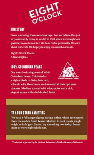 Eight O'Clock® 100% Colombian Peaks Medium Roast Ground Coffee Perspective: back