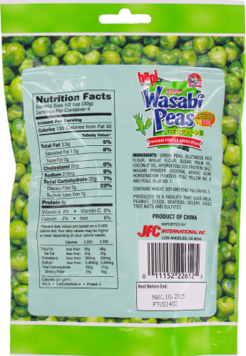 Hapi Snacks Hot Wasabi Peas Perspective: back