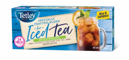 Tetley Decaffeinated Iced Tea Blend Tea Bags Perspective: back