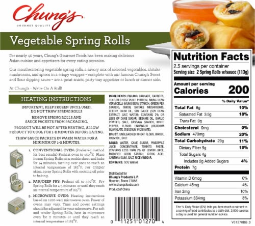 Chung's Gourmet Quality Vegetable Spring Rolls 5 Count Perspective: back