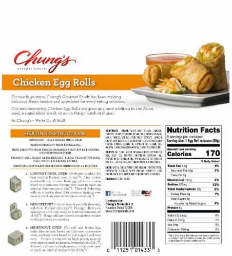 Chung's® Chicken Egg Rolls Perspective: back