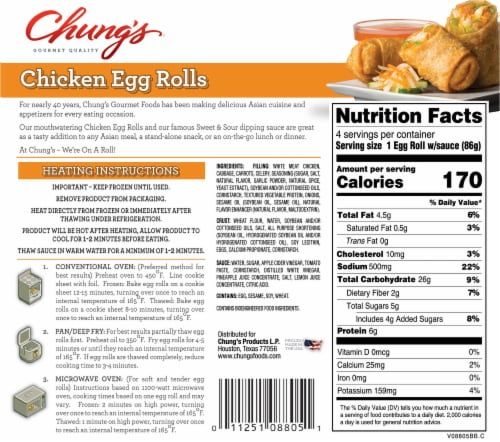 Chung's White Meat Chicken Egg Rolls 4 Count Perspective: back